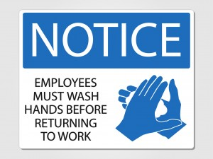 Employees wash hands sign