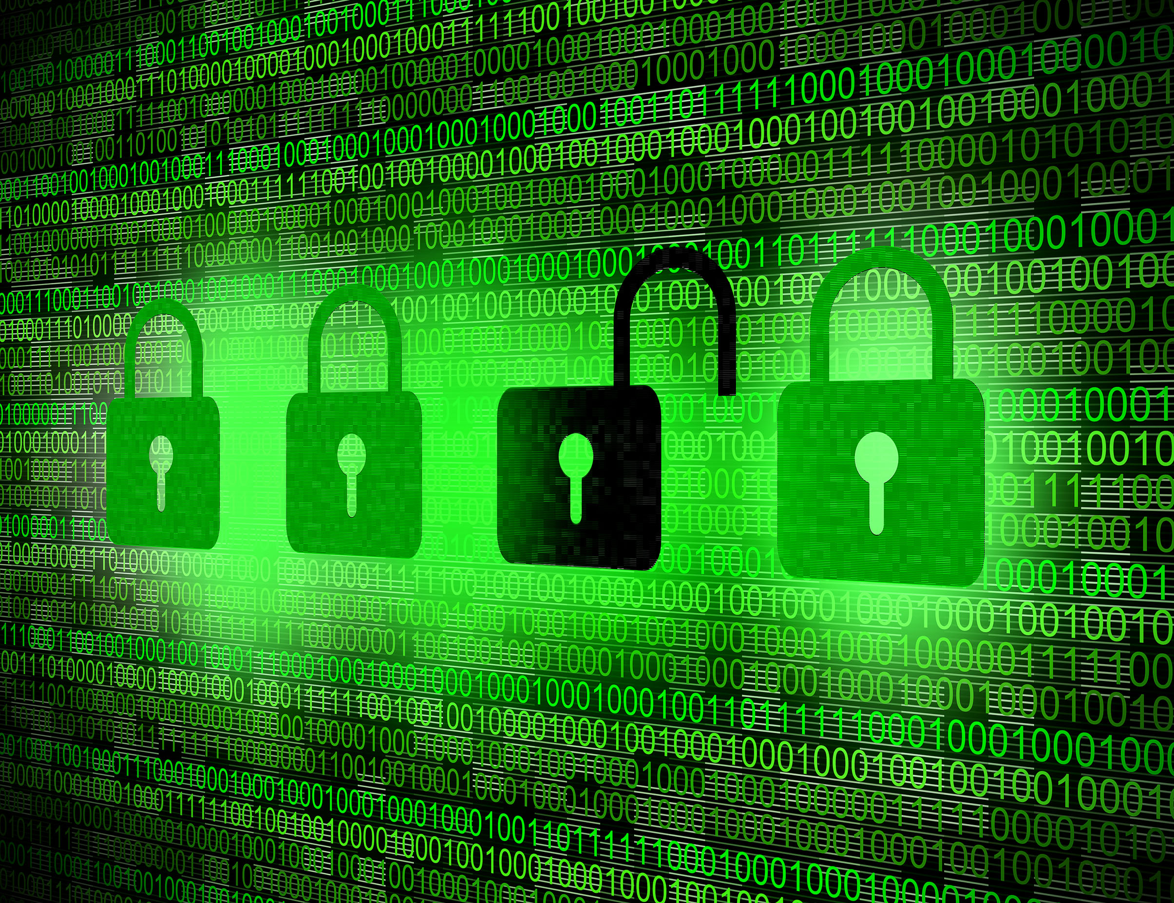 Security concept - Locks on digital screen